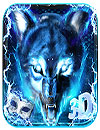 waptrick.one 3D Blue Fire Ice Wolf Launcher Theme