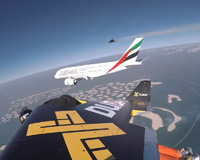 Dubai Airbus A380 Flying Next To Jetpacks People