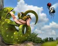 Pôsobivý Funny 3D Chameleon