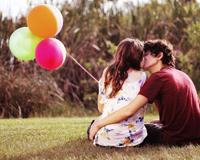 Çifti romantike me Balloon