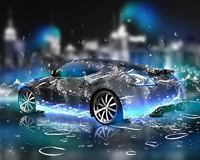 Abstract 3D Car With Water