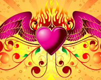 Pink Heart With Wings With Fire