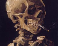 Vincent Van Gogh skull with a Burning Cigarette