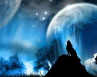 Wolf And Two Moons