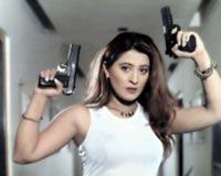 Laila Holding Pistols