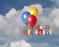 Happy Birthday Balloons On Sky