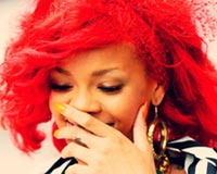 Rihanna Red Smiling