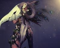 Kadın A Ram Dijital Sanat Maske