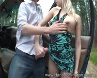 redwap.biz Blonde Slut Gives A Handjob At Forrest 2