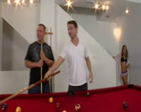 borwap.com Billiards Party For The Blonde With Two Cues To Take